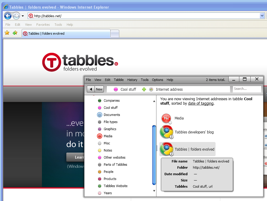 Tabbles window - collection of tagged internet addresses
