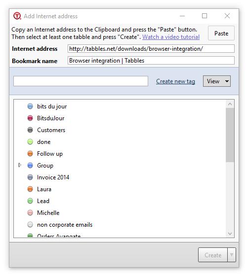 Tabbles tag URL window