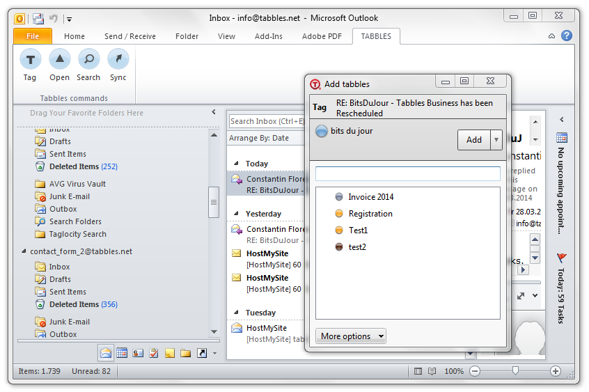 Tabbles Outlook plugin