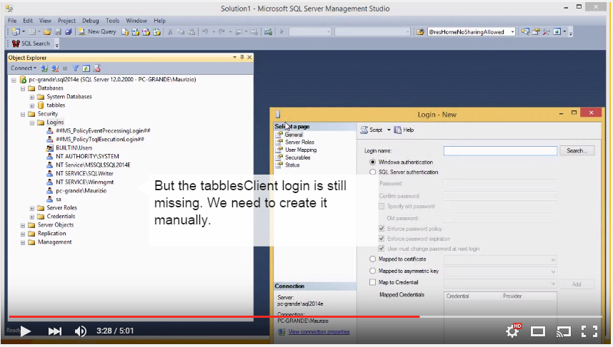 how to migrate the Tabbles database to a different Sql Server