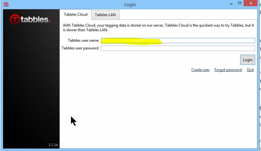 tabbles user name cloud