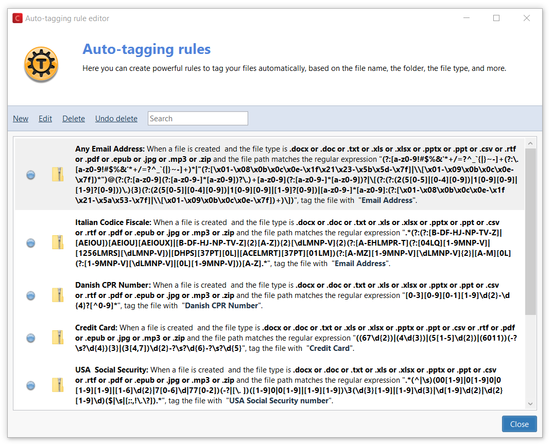 Data mining: auto-tagging rules with regular expressions