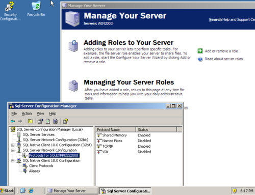 Getting the specs down: Tabbles runs on Windows Server 2003 with MSSQL 2008 Express