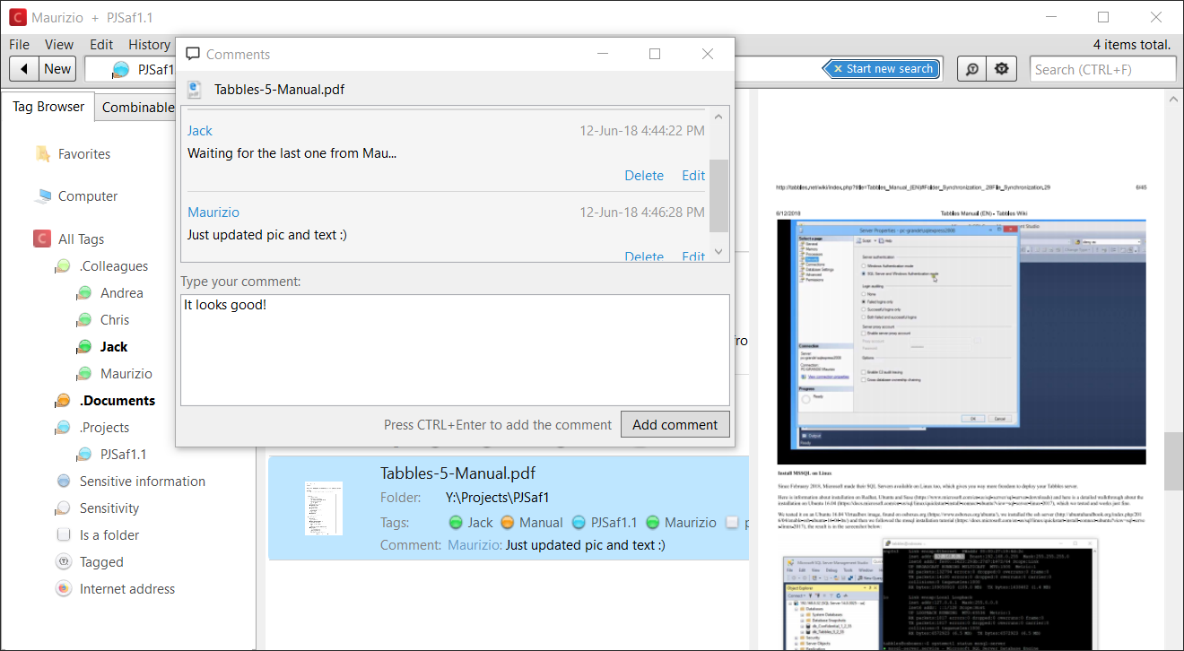 Add chat-like comments on files and preview documents