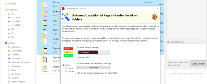 Auto create tags and rules