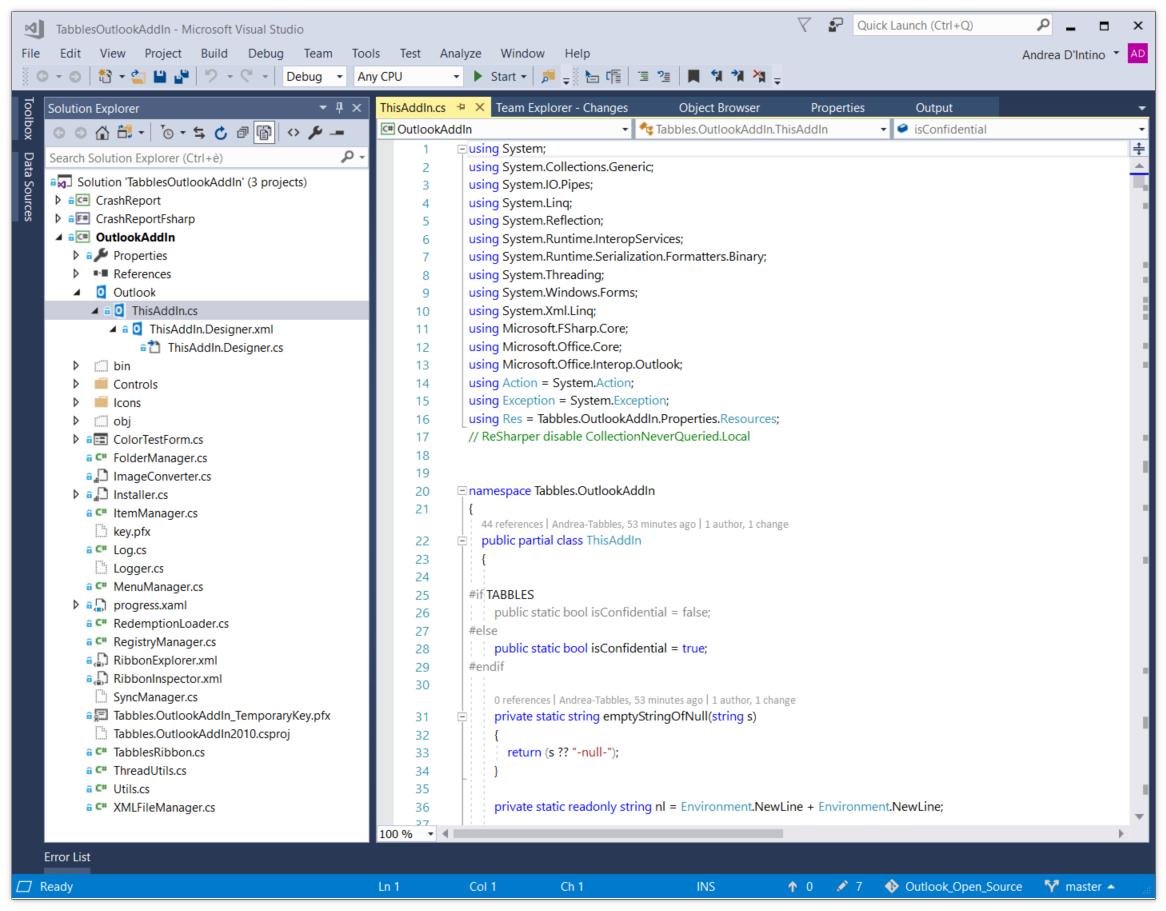 Tabbles Outlook Plugin Source Code